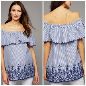 A Pea In The Pod Off-The-Shoulder Maternity Blouse